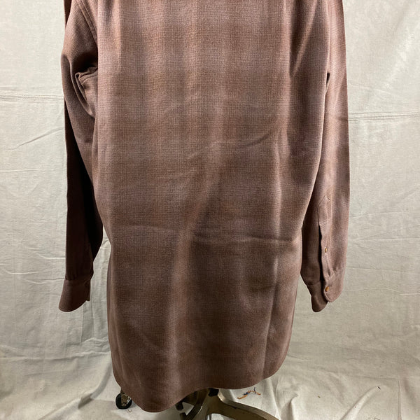 Lower Rear View of Vintage 50s/60s Era Brown Pendleton Shadow Plaid Wool Flannel Shirt SZ 17