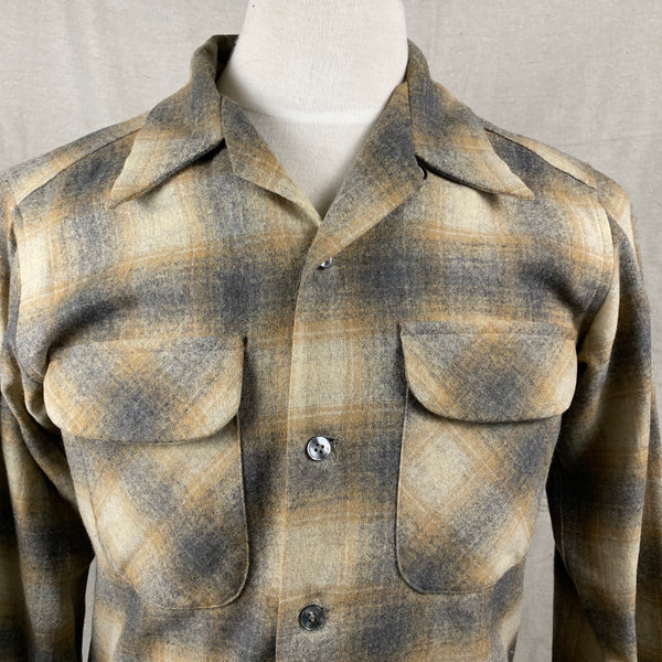 Upper Chest View of Vintage Pendleton Grey & Tan Shadow Plaid Wool Board Shirt SZ S