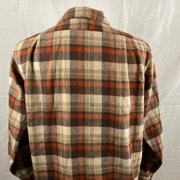 Upper Rear View of Vintage Brown & Tan Pendleton Board Shirt SZ L