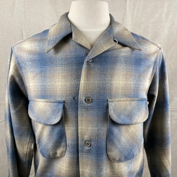 Front Upper View of Vintage Blue/Tan Pendleton Shadow Plaid Board Shirt SZ M