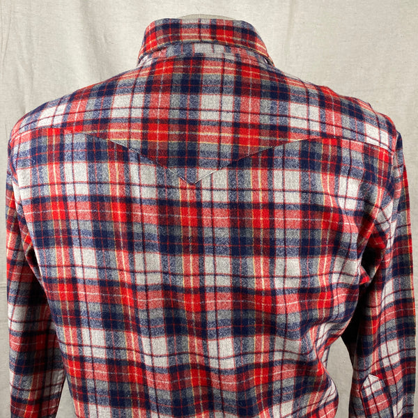 Upper Rear View of Vintage Pendleton Red & Blue Plaid High Grade Western Wear Flannel Shirt SZ L