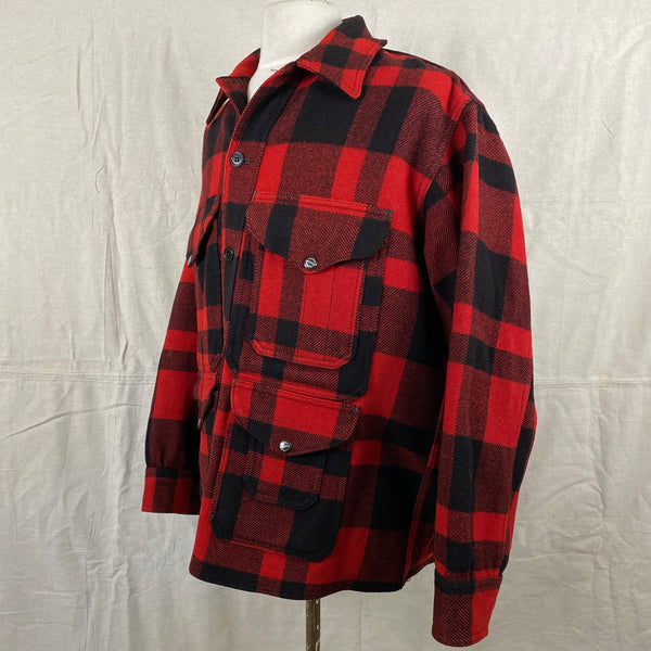 Left Side View of Union Made Buffalo Plaid Filson Mackinaw Cruiser