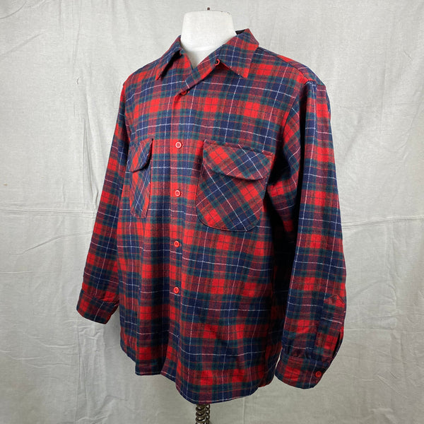Left Angle View of Vintage Red, Blue & Green Pendleton Board Shirt SZ XL