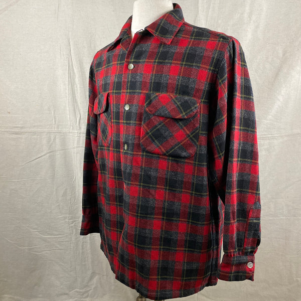 Left Angle View of Vintage 50s/60s Era Red and Black Pendleton Board Shirt SZ M
