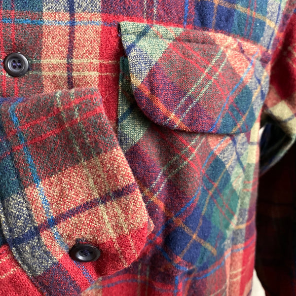 Right Cuff View of Pendleton Red Blue & Green Plaid Wool Board Shirt SZ XL