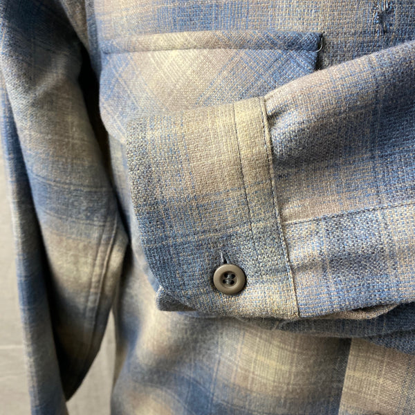 Left Cuff View on Vintage Blue/Tan Pendleton Shadow Plaid Board Shirt SZ M