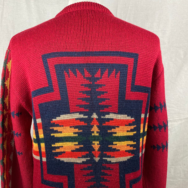 Upper Rear View of Vintage Pendleton High Grade Western Wear Wool Sweater SZ L