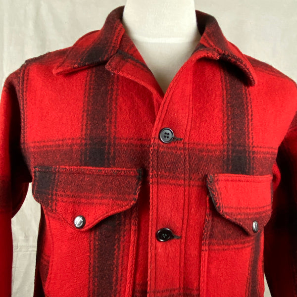 Upper Front View of Vintage Union Made 75% Red Filson Hunter Wool Coat Style 85