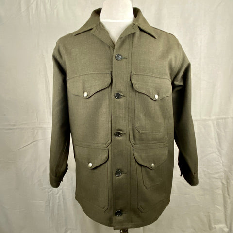 Front View on Vintage Union Made Filson Olive Green Wool Cruiser