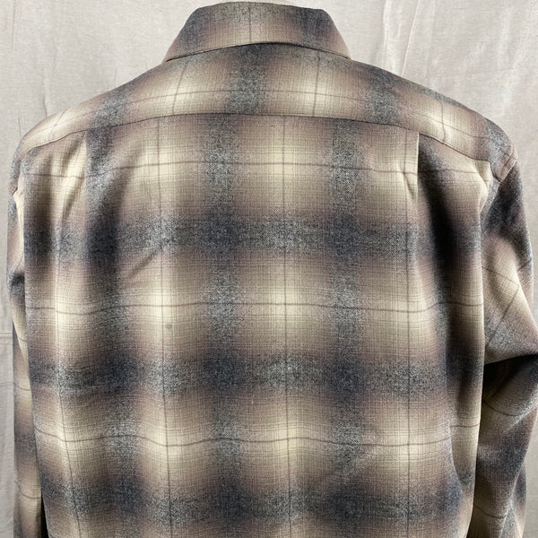 Upper Rear View of Vintage 50s/60s Era Pendleton Shadow Plaid Wool Flannel Shirt SZ 17