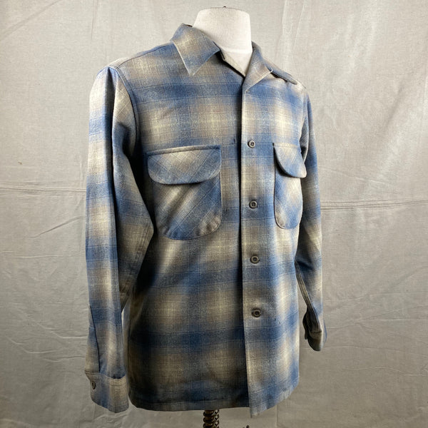 Right Angle View of Vintage Blue/Tan Pendleton Shadow Plaid Board Shirt SZ M