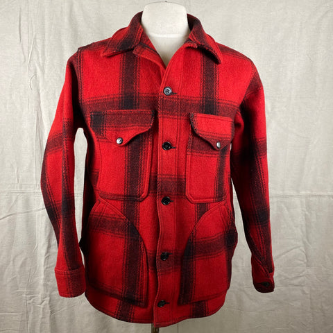 Front View of Vintage Union Made 75% Red Filson Hunter Wool Coat Style 85