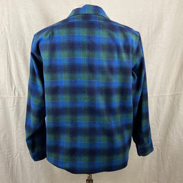 Rear VIew on Vintage Pendleton Blue & Green Shadow Plaid Wool Board Shirt SZ XL