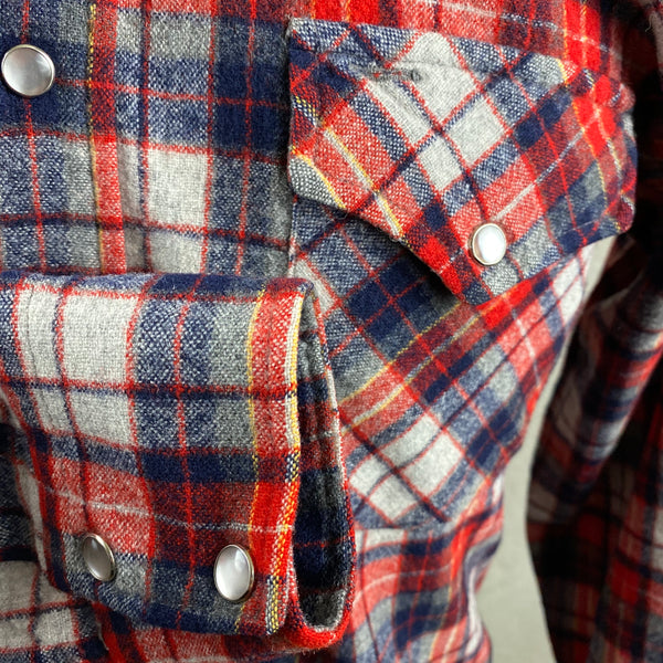 Right Cuff View of Vintage Pendleton Red & Blue Plaid High Grade Western Wear Flannel Shirt SZ L