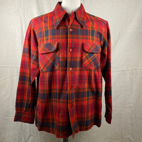 Front View of Vintage Red Blue & Yellow Pendleton Board Shirt SZ L