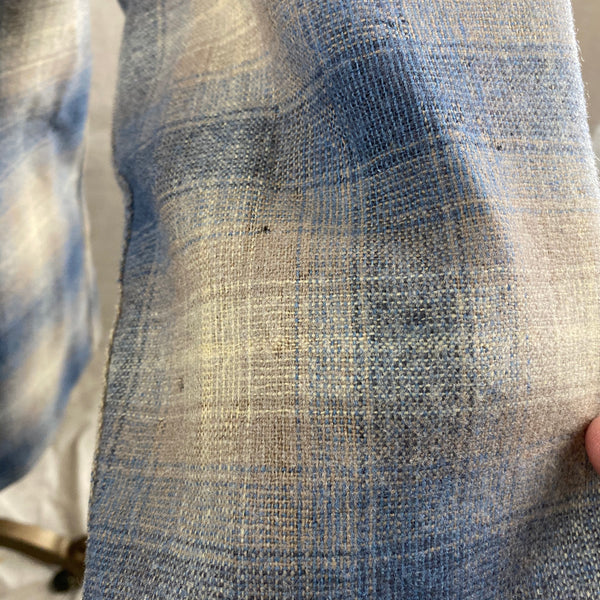 More Holes on Sleeves on Vintage Blue/Tan Pendleton Shadow Plaid Board Shirt SZ M
