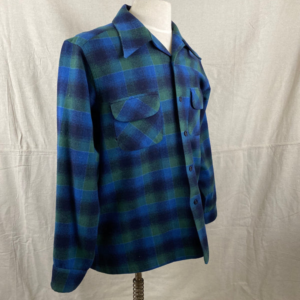 Right Angle View on Vintage Pendleton Blue & Green Shadow Plaid Wool Board Shirt SZ XL