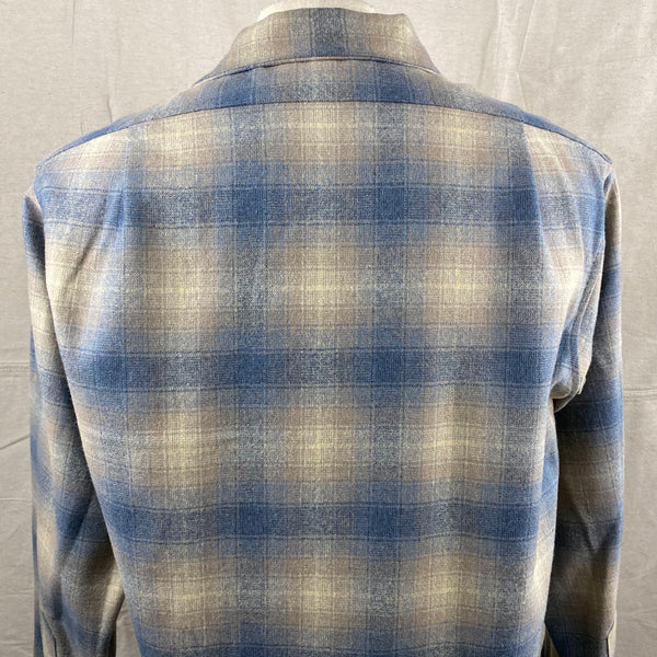 Upper Rear View on Vintage Blue/Tan Pendleton Shadow Plaid Board Shirt SZ M