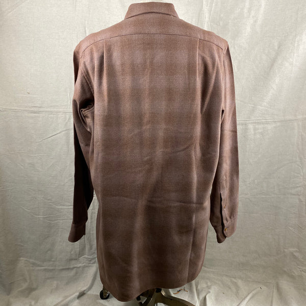 Rear View of Vintage 50s/60s Era Brown Pendleton Shadow Plaid Wool Flannel Shirt SZ 17