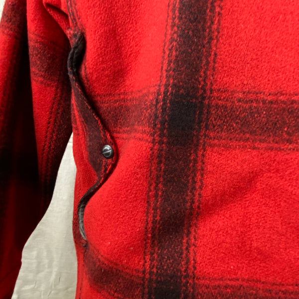 Map Pocket View on Vintage Union Made 75% Red Filson Hunter Wool Coat Style 85