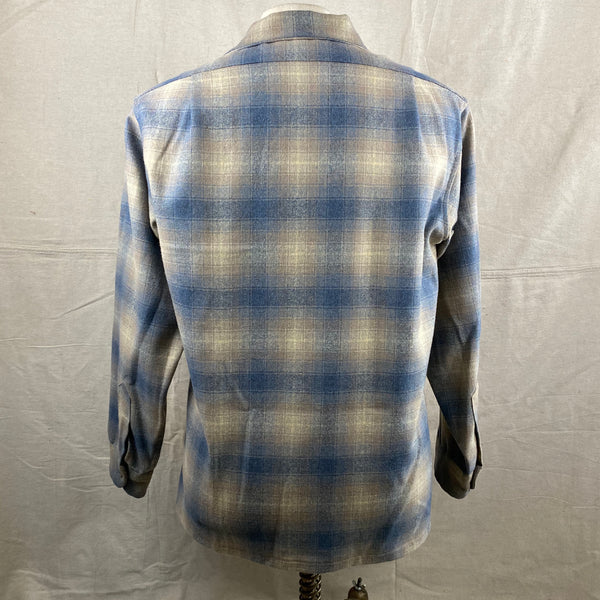 Rear View of Vintage Blue/Tan Pendleton Shadow Plaid Board Shirt SZ M