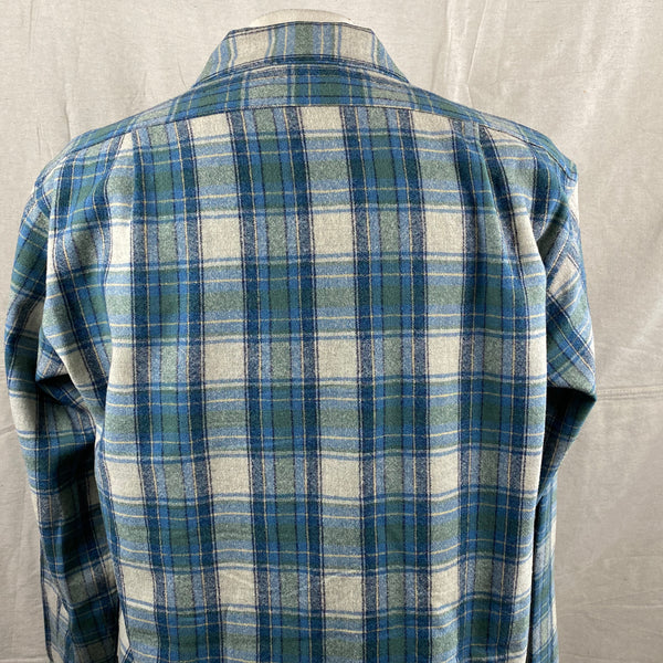 Upper Rear View of Vintage Pendleton Blue/Green Plaid Wool Flannel Shirt SZ L