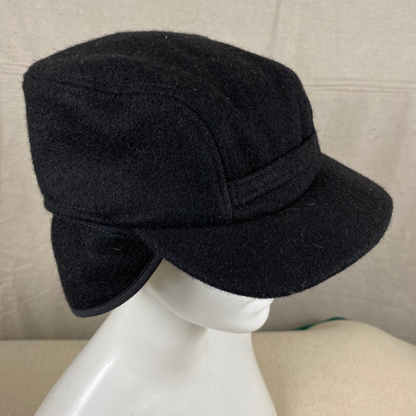 Close Up Right Angle View of Black Filson Mackinaw Wool Hat Size M