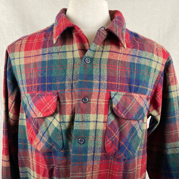 Upper Chest View of Pendleton Red Blue & Green Plaid Wool Board Shirt SZ XL