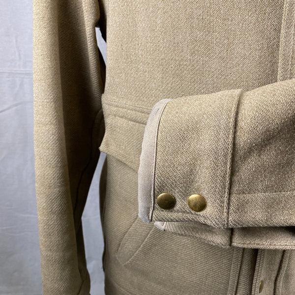 Left Cuff View of Vintage Pendleton Wool Tan Coat