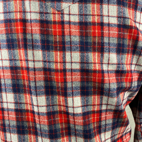 Rear Pattern Close Up view of Vintage Pendleton Red & Blue Plaid High Grade Western Wear Flannel Shirt SZ L