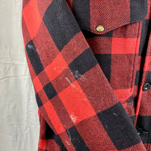 Right Sleeve Paint Splatters on Vintage Union Made Filson Mackinaw Wool Cruiser Red and Black Buffalo Plaid