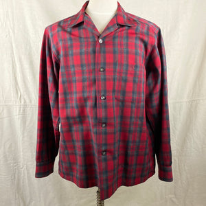 Front View of Vintage Sir Pendleton Red and Grey Wool Shirt SZ L