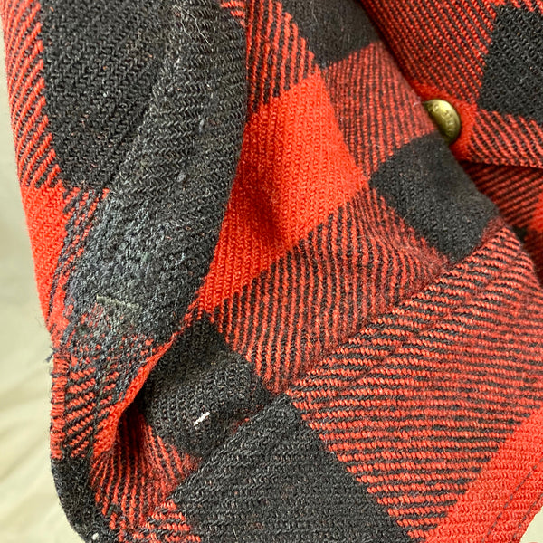 Repairs on Sleeve View on Vintage Union Made Filson Mackinaw Wool Cruiser Red and Black Buffalo Plaid