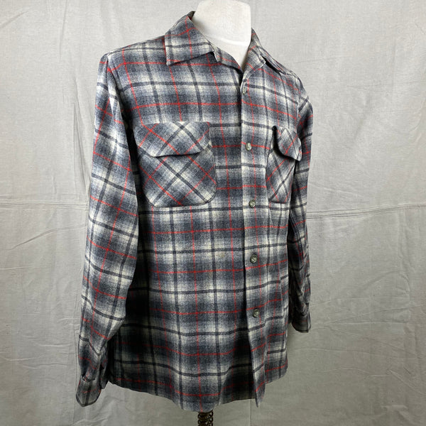 Right Angle View of Vintage Pendleton Grey & Red Plaid Wool Board Shirt SZ M