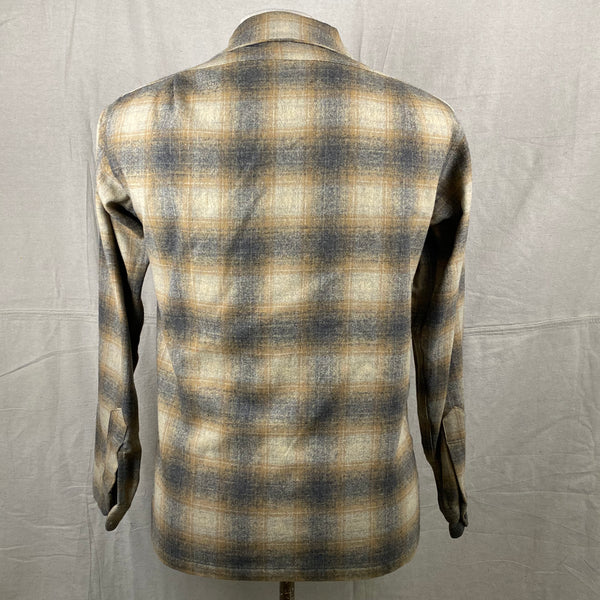 Rear View of Vintage Pendleton Grey & Tan Shadow Plaid Wool Board Shirt SZ S