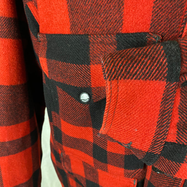 Left Pocket View of Union Made Buffalo Plaid Filson Mackinaw Cruiser