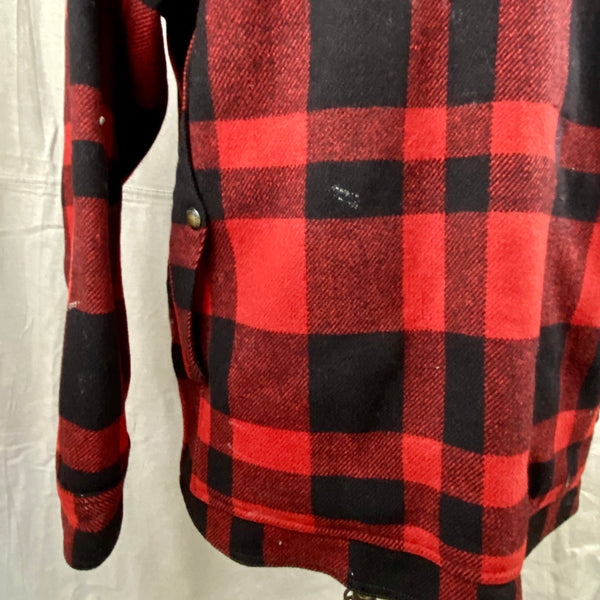 Rear Left View on Vintage Union Made Filson Mackinaw Wool Cruiser Red and Black Buffalo Plaid