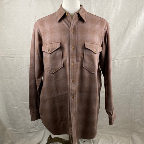 Front View of Vintage 50s/60s Era Brown Pendleton Shadow Plaid Wool Flannel Shirt SZ 17