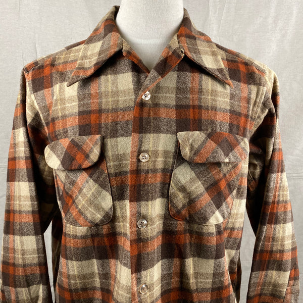 Upper Front View of Vintage Brown & Tan Pendleton Board Shirt SZ L
