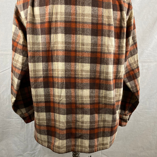 Lower Rear View of Vintage Brown & Tan Pendleton Board Shirt SZ L