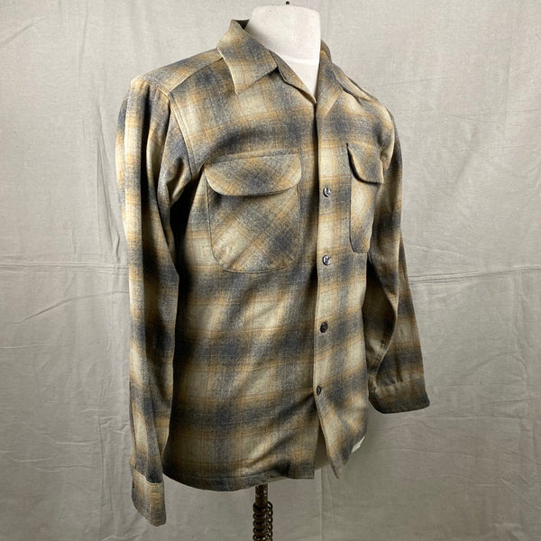 Right Angle View of Vintage Pendleton Grey & Tan Shadow Plaid Wool Board Shirt SZ S