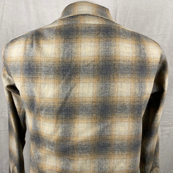 Upper Rear View of Vintage Pendleton Grey & Tan Shadow Plaid Wool Board Shirt SZ S