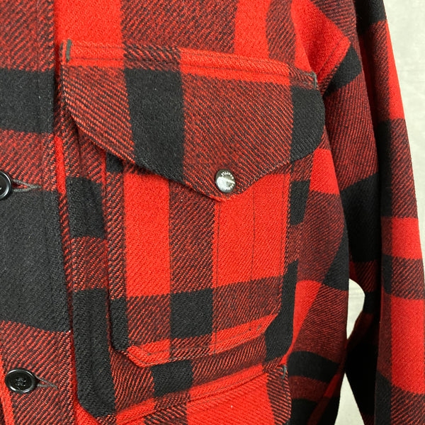 Upper Left Pocket View of Union Made Buffalo Plaid Filson Mackinaw Cruiser