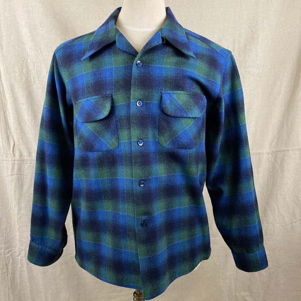 Front View of Vintage Pendleton Blue & Green Shadow Plaid Wool Board Shirt SZ XL