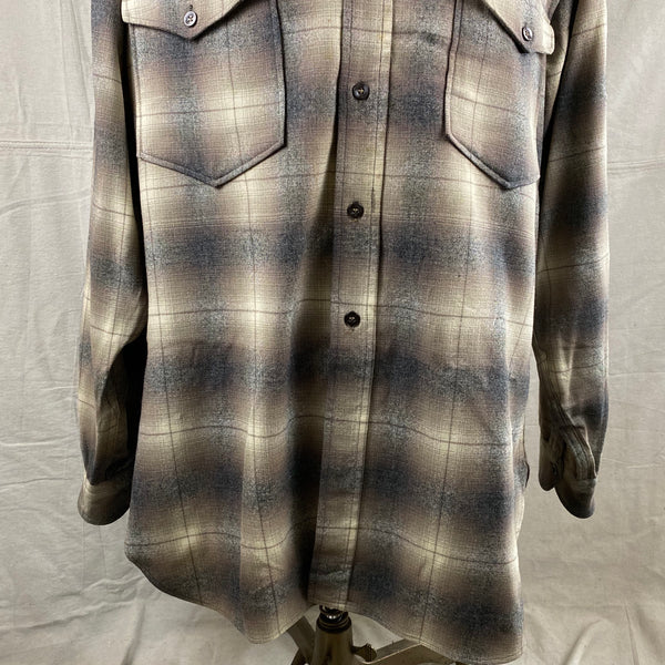 Lower Chest View of Vintage 50s/60s Era Pendleton Shadow Plaid Wool Flannel Shirt SZ 17