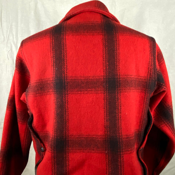Upper Rear View on Vintage Union Made 75% Red Filson Hunter Wool Coat Style 85