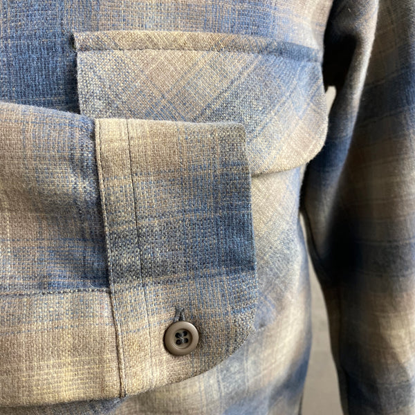 Right Cuff View on Vintage Blue/Tan Pendleton Shadow Plaid Board Shirt SZ M
