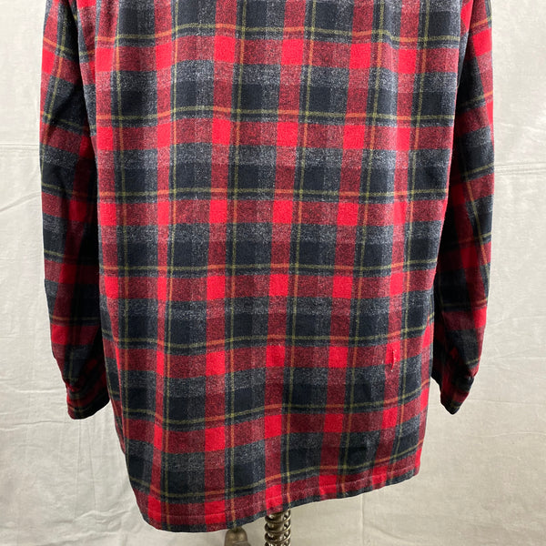 Lower Rear View of Vintage 50s/60s Era Red and Black Pendleton Board Shirt SZ M