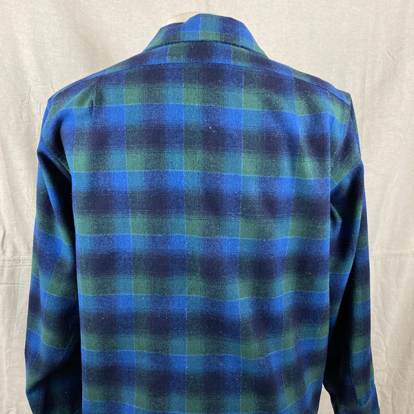 Upper Rear View on Vintage Pendleton Blue & Green Shadow Plaid Wool Board Shirt SZ XL