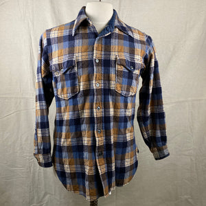 Front View of Vintage Pendleton Plaid Wool Flannel Shirt SZ 16 1/2
